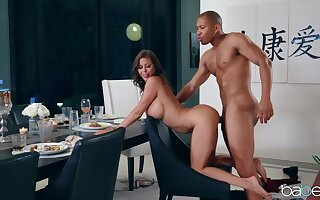 Black dude hard fucked elegant wife then sucks her tits while creaming her face