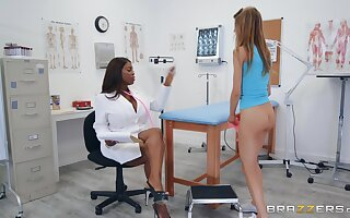 Interracial lesbian session with Asuna Fox and Maserati at the office