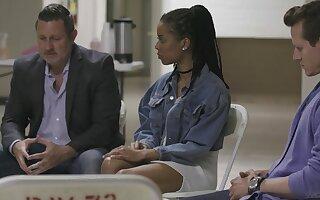 Ebony pornstar Kira Noir loves to be fucked by her white boss