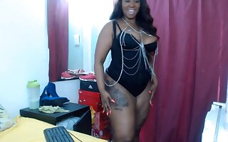 Black amazing girl, huge-boobs, she has very round juicy ass