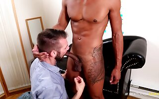 Office dude gets butt fucked by his black gay friend and gets a cumshot