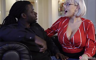 Black dude with a long dick makes fake tits Angel Wicky moan