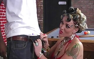 Jumping on a dude's black cock is the favorite sport of Candy Monroe