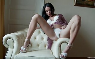 Katanna uses a black dildo to make her tight cunt dripping wet