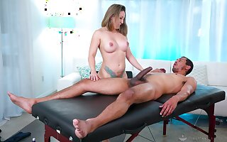 Nice pussy and ass fucking during a back massage for Betty Foxxx