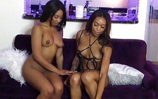 Beautiful Ebony Lesbians Making Love with Strap-On