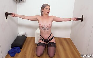 First gloryhole threesome spectacle with a hot blonde
