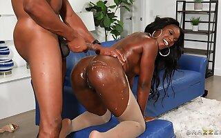 Trimmed pussy ebony slattern Ana Foxxx loves having deep anal sex