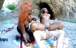Interracial FFM threesome on the beach - Nancy Love & Naomi Lionness