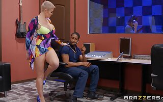 Grown-up with huge tits, rough BBC pussy action at the studio