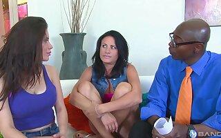 Interracial FFM trine with horny Alexa Nicole together with Ashli Ames