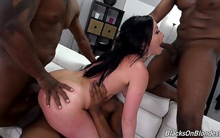 Full anal resonate in scenes be beneficial to black gangbang